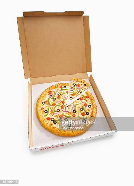 Veggie Pizza in box with slice