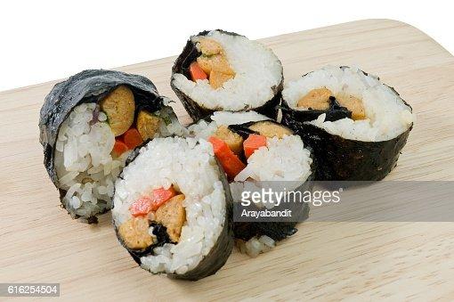 Veggie Sushi Rolls or Vegetable Maki Isolated on White : Stock Photo