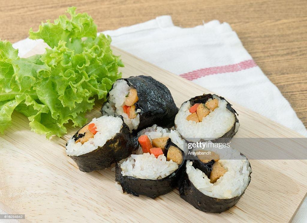 Veggie Sushi Rolls or Vegetable Maki on Wood Tray : Stock Photo