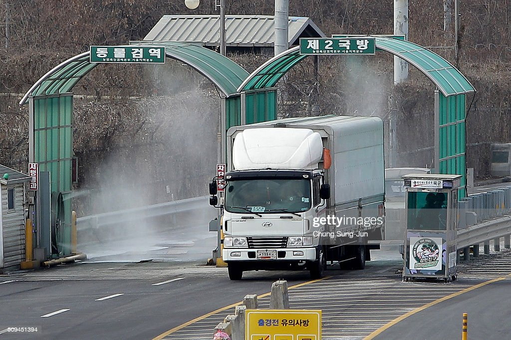 A vehicle arriving from the Kaesong joint industrial complex in North Korea at the inter-Korean transit office on February 11, 2016 in Paju, South Korea. South Korea announced on February 10, 2016 that the country would close an industrial complex jointly ran with North Korea, as the strongest response for North's recent nuclear test and rocket launch.