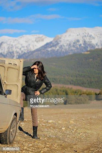 Vehicle breakdown on the mountain. : Stock Photo