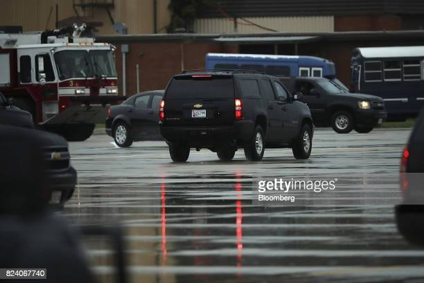 A vehicle carrying Reince Priebus outgoing White House chief of staff leaves ahead of the presidential motorcade in Joint Base Andrews Maryland US on...