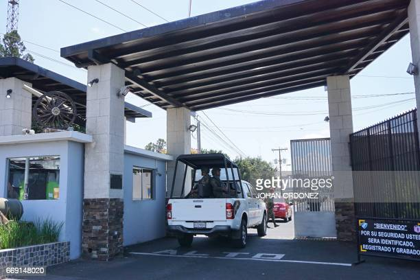 A vehicle carrying soldiers arrives at Matamoros military barracks where Javier Duarte former Mexican state of Veracruz governor is detained in...
