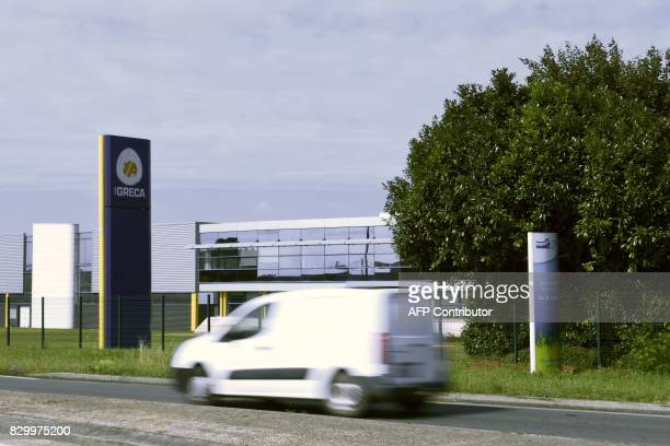 A vehicle drives past the manufacturer of egg products for the food industry Igreca in SeichessurLoir on August 11 2017 Igreca received between July...