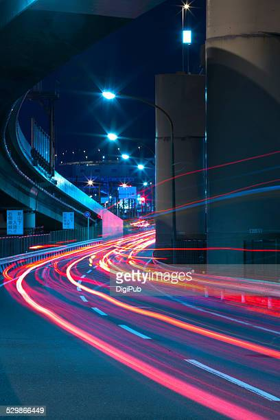 Vehicle light trails in Yokohama