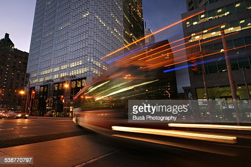 Vehicle light trails, twilight in Downtown Toronto
