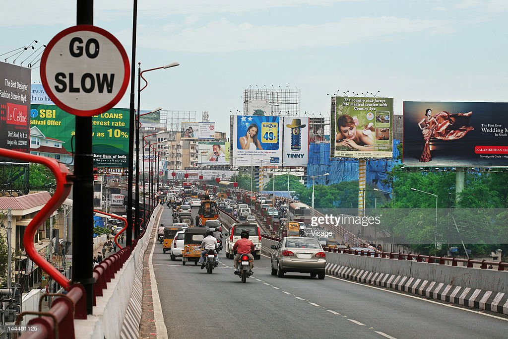 Vehicle moving on a flyover : Stock Photo