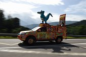 A vehicle of the advertising caravan is pictured on July 21 2016 in Sallanches near the departure village prior to the start of the 17 km individual...