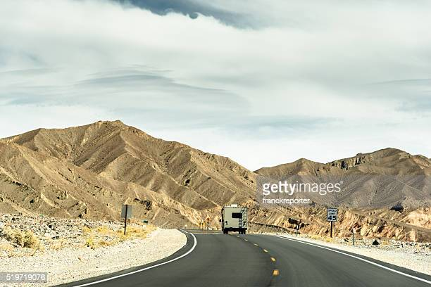 RV vehicle on the road on the death valley