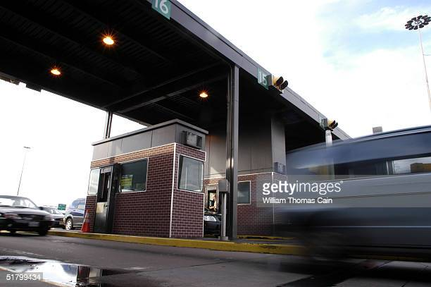 A vehicle passes through the Philadelphia Interchange of the Pennsylvania Turnpike during day 5 of the toll workers strike November 28 2004 in...
