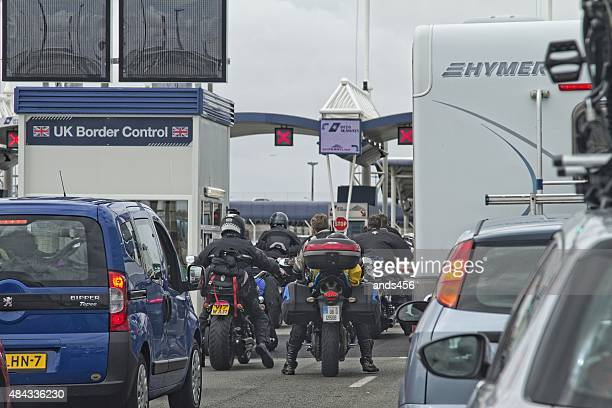 Vehicle queue at border control in Calais port,France