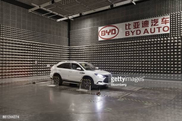 A vehicle sits in an electromagnetic interference testing lab at the BYD Co headquarters in Shenzhen China on Thursday Sept 21 2017 China will likely...