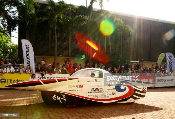 vehicle 'Taegeuk' from South Korea leaves the start line as they begin racing on Day 1 of the 2017 Bridgestone World Solar Challenge at State Square...