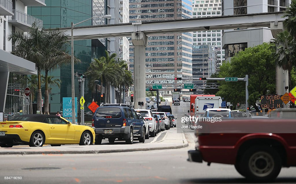 Vehicle traffic is seen in the street as people prepare for the Memorial Day weekend on May 27, 2016 in Miami, Florida. AAA is predicting 34 million Americans will drive 50 miles or more for Memorial Day weekend, the most since 2005.