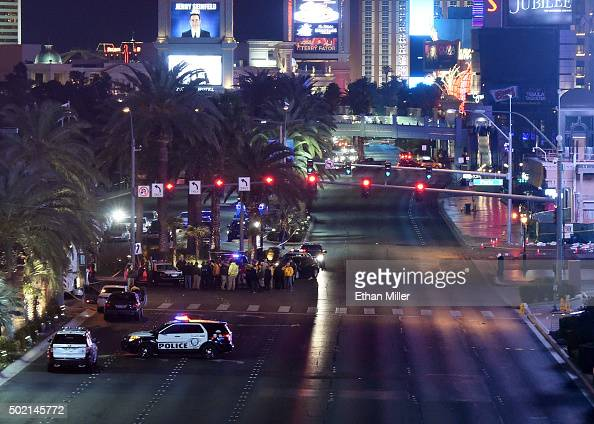 Vehicle traffic on the Las Vegas Strip is closed as police investigate the area after a car crashed into a group of pedestrians on the sidewalk in...