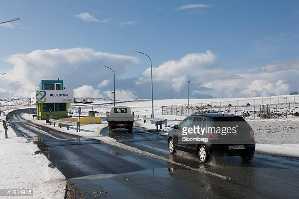 Vehicles approach a security building at the entrance to the Verne Global data center on a decomissioned military base in Keflavik Iceland on Friday...