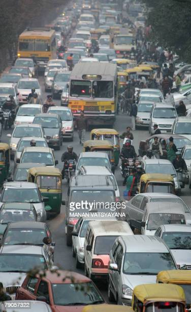 LAHIRI 'HEALTHINDIAECONOMYAUTOPOLLUTIONDIESEL' Vehicles are stuck in a traffic jam at a crossing in New Delhi 09 January 2008 A stay in India's...