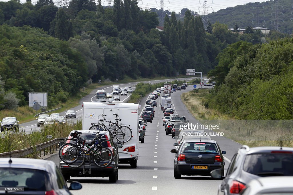 vehicles are stuck in a traffic jam on august 10 2013 near thiais pictures getty images. Black Bedroom Furniture Sets. Home Design Ideas