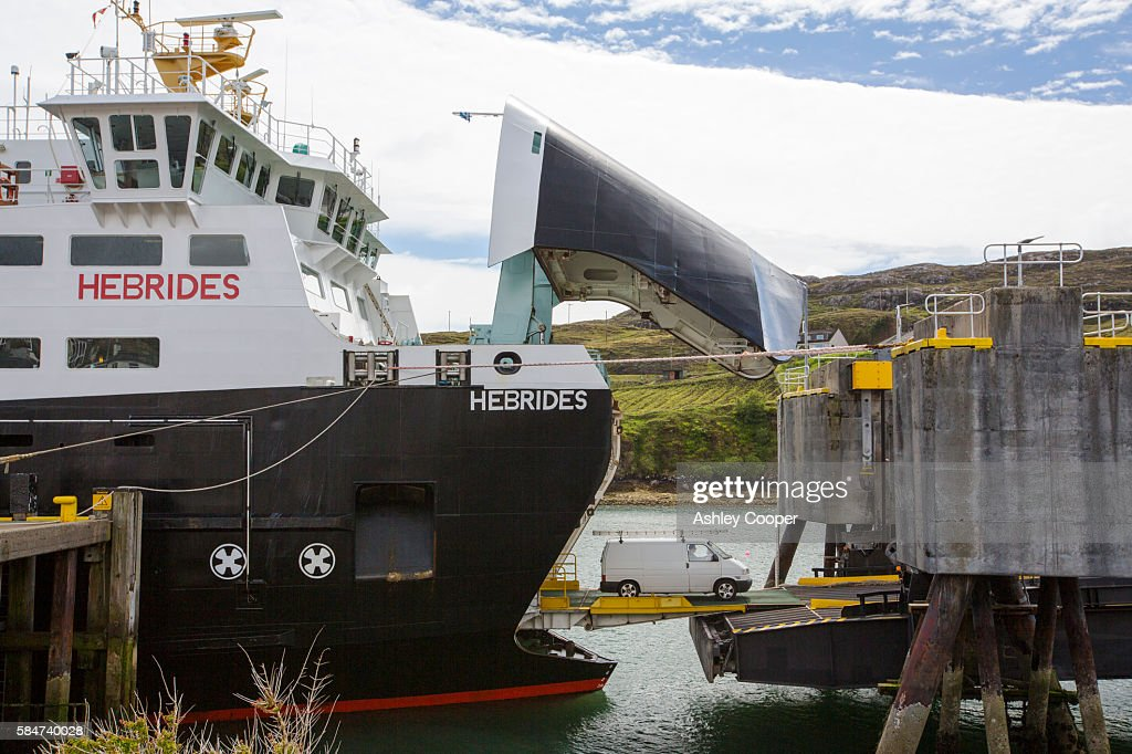 Vehicles disembarking from the Caledonian MacBrayne ferry in Tarbert on the Isle of Harris, Outer Hebrides, Scotland, UK.