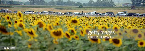 vehicles drive in traffic jam on July 28 on the A7 highway between Vienne and Valence eastern France during holiday departures The French traffic...