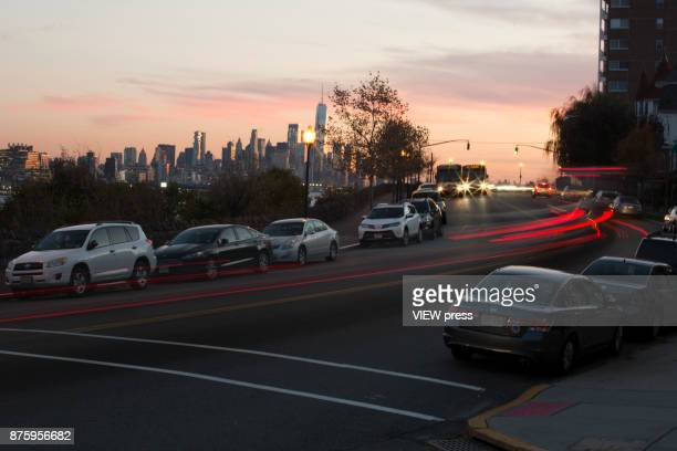 Vehicles move along the Boulevard East on November 17 2017 in Weehawken New Jersey The United States is still contributing to the global greenhouse...