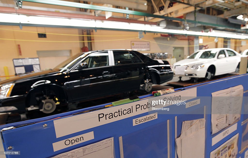 Vehicles move down the production line at General Motors Co.'s Detroit-Hamtramck Assembly plant in Detroit, Michigan, U.S., on Tuesday, Nov. 30, 2010. General Motors Co., the maker of the Chevrolet Volt gasoline-electric car, will hire 1,000 engineers in Michigan to help expand the automakers' lineup of electric-drive vehicles. Photographer: Jeff Kowalsky/Bloomberg via Getty Images