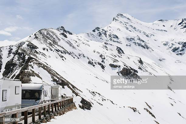 Vehicles on a mountain road