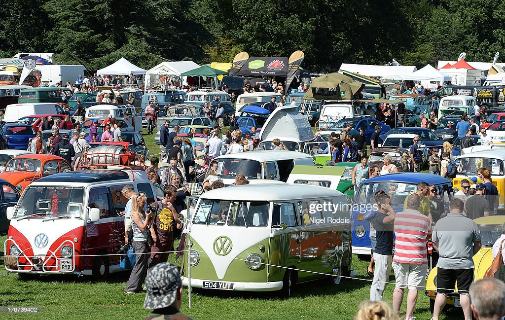 VW vehicles on display during the In Praise Of All Things VW At The Annual Festiva at Harewood Housel on August 18, 2013 in Leeds, Yorkshire. The annual VW festival in its 9th year attracts around 15,000 people over the weekend, ending with the winners car parade on Sunday.