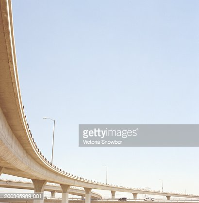 Vehicles on highway overpass