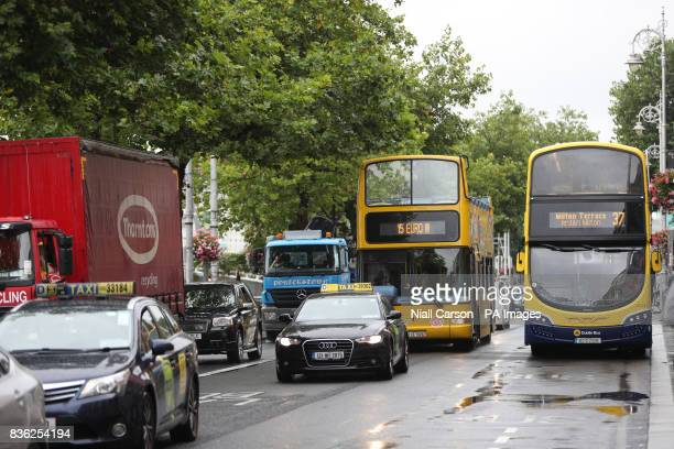 Vehicles on the North Quays as new traffic restrictions and measures giving priority to buses come into effect in Dublin city today
