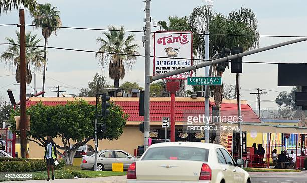 Vehicles pass Tam's Burger in Compton California on January 30 2015 where a day earlier former rap music mogul Marion 'Suge' Knight is reported to...