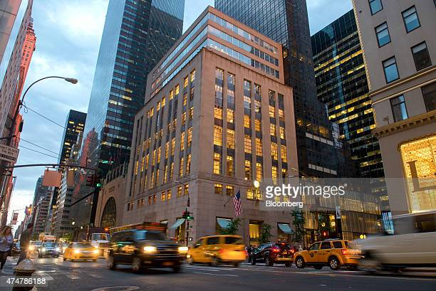 Vehicles pass the Tiffany Co flagship store on 5th Avenue in New York US on Friday May 22 2015 Tiffany is scheduled to report firstquarter earnings...