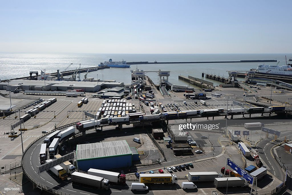 Vehicles queue after disembarking from a ferry at Dover docks in Kent in southern England on April 20 as an erupting Icelandic volcano continues to...