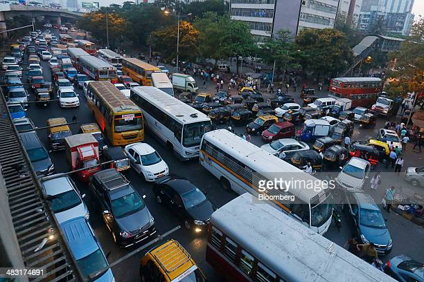 Vehicles sit in traffic during the evening rush hour in the Bandra East area of Mumbai India on Friday April 4 2014 The biggest election in world...