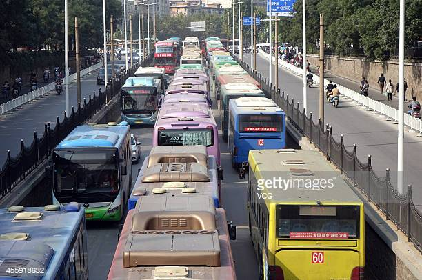Vehicles stuck on the road during World Car Free Day on September 22 2014 in Zhengzhou Henan province of China World Car Free Day encourages...
