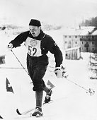 Veikko Hakulinen is shown on his way to victory in the Men's 30 kilometer cross country ski event in the Winter Olympics In scoring the victory...