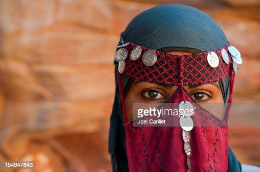 Veiled Bedouin woman in Jordan