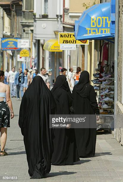 Veiled Muslim women from Kuwait shop July 8 2004 in central Teplice Czech Republic Though Arabs make up the highest percentage of foreign visitors to...