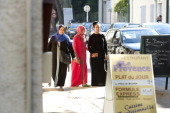 Veiled women walk along the street on October 9 in Brignoles south of France