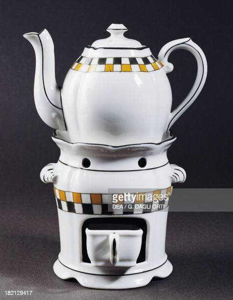 Veilleuse teapot and spirit lamp stand ceramic Paris manufacture France 20th century