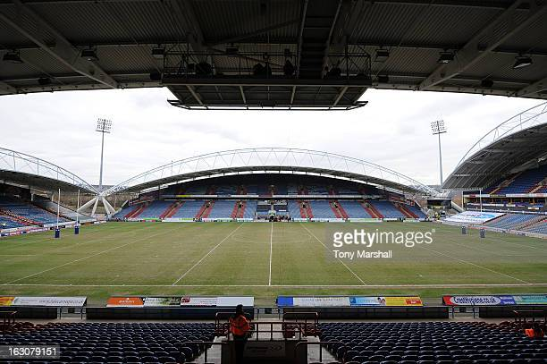 A veiw of The John Smith's stadium home of Huddersfield Giants before the Super League match between Huddersfield Giants and Bradford Bulls at John...