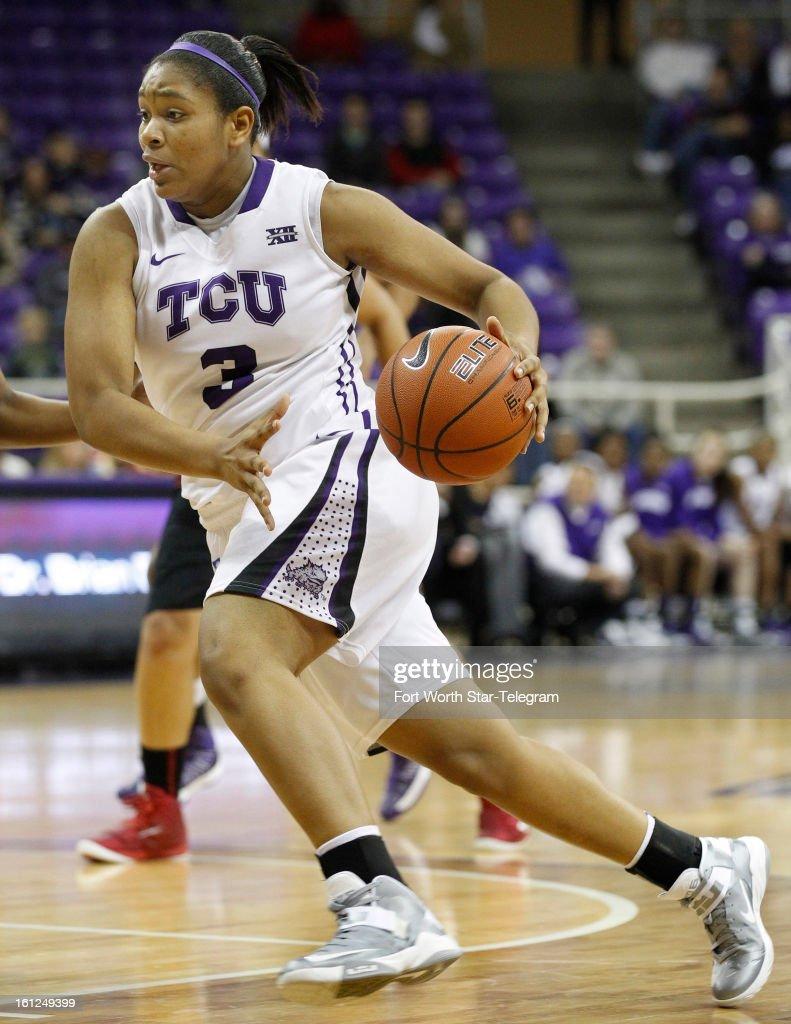 Veja Hamilton of Texas Christian drives the ball against Texas Tech at Daniel-Meyer Coliseum in Fort Worth, Texas on Saturday, February 9, 2013. Tech defeated TCU, 64-46.
