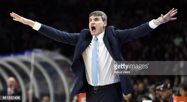 Velimir Perasovic Head Coach of Anadolu Efes Istanbul in action during the 2016/2017 Turkish Airlines EuroLeague Regular Season Round 25 game between...