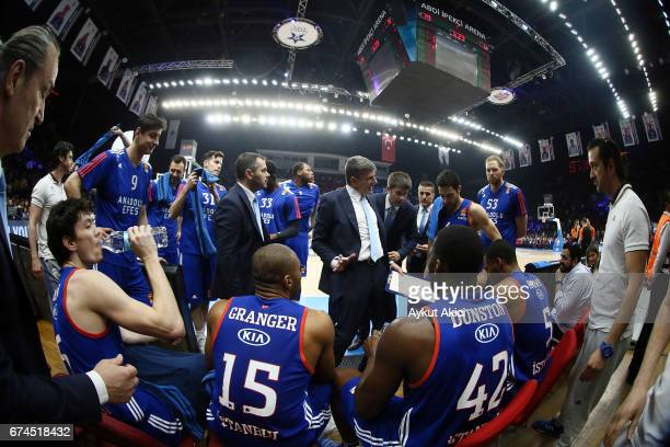 Velimir Perasovic Head Coach of Anadolu Efes Istanbul in action during the 2016/2017 Turkish Airlines EuroLeague Playoffs leg 4 game between Anadolu...