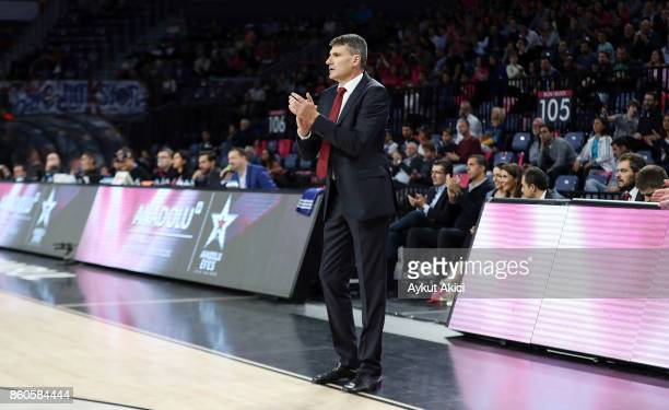 Velimir Perasovic Head Coach of Anadolu Efes Istanbul in action during the 2017/2018 Turkish Airlines EuroLeague Regular Season Round 1 game between...