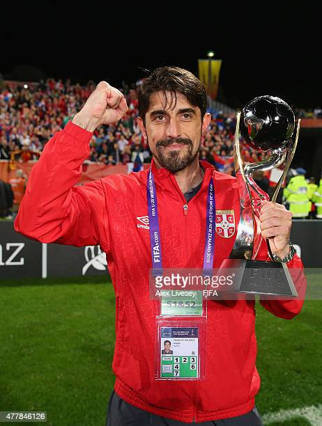 Veljko Paunovic the coach of Serbia celebrates after the FIFA U20 World Cup Final match between Brazil and Serbia at North Harbour Stadium on June 20...