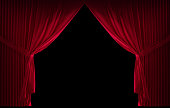 3D realistic stage curtains with a black background