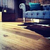 Velvet sofa with cowhide rug