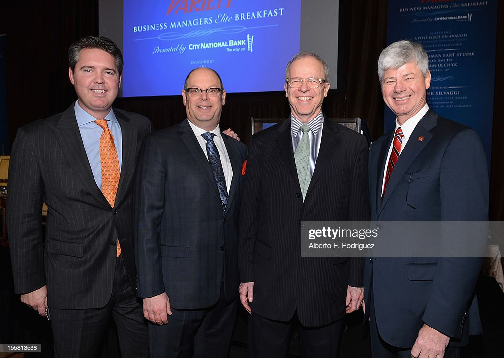 Venable, LLP partners Bob Smith, Brad Cohen, Variety Editor Tim Gray and Venable, LLP partner <a gi-track='captionPersonalityLinkClicked' href=/galleries/search?phrase=Bart+Stupak&family=editorial&specificpeople=656565 ng-click='$event.stopPropagation()'>Bart Stupak</a> attend Variety's Business Managers Elite Breakfast presented by City National Bank at Montage Beverly Hills on November 8, 2012 in Beverly Hills, California.