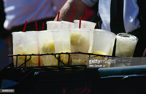 A vendor holds a rack of lemonade drinks for sale during the game between the Montreal Expos and the San Francisco Giants on May 7 1997 at...